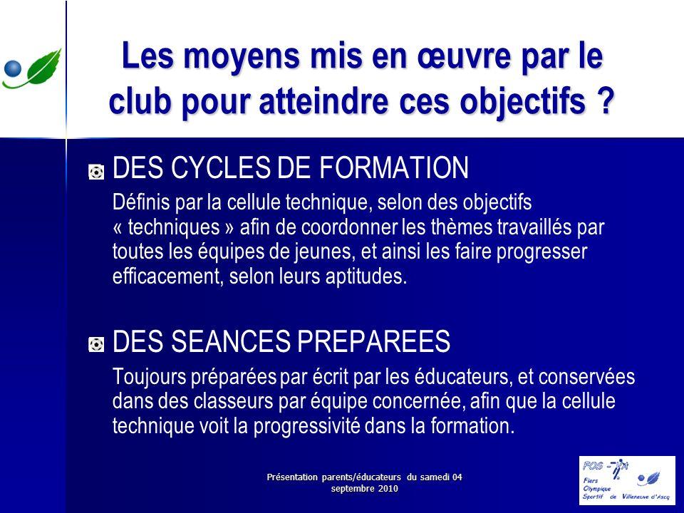 Présentation parents/éducateurs du samedi 04 septembre 2010 Les moyens mis en œuvre par le club pour atteindre ces objectifs ? DES CYCLES DE FORMATION