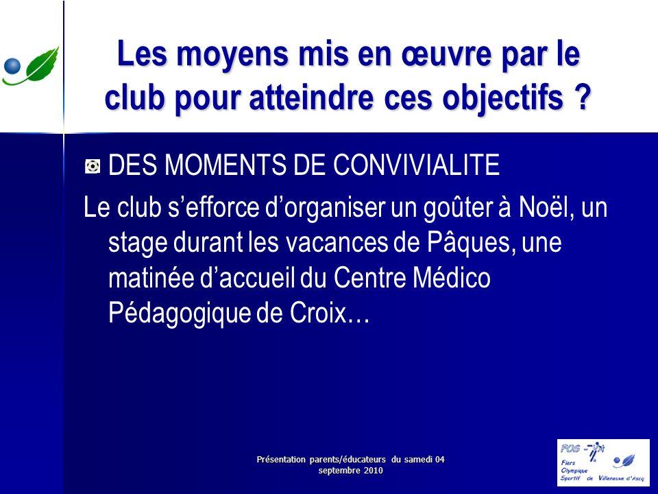 Présentation parents/éducateurs du samedi 04 septembre 2010 Les moyens mis en œuvre par le club pour atteindre ces objectifs ? DES MOMENTS DE CONVIVIA
