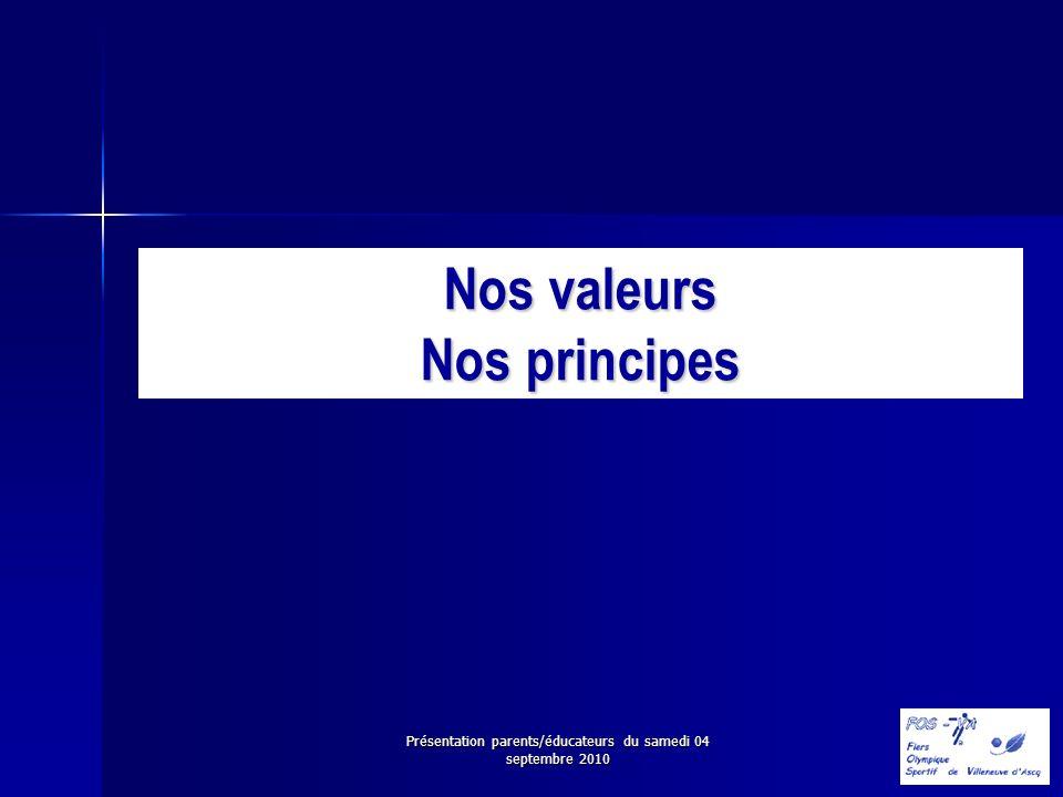Présentation parents/éducateurs du samedi 04 septembre 2010 Nos valeurs Nos principes