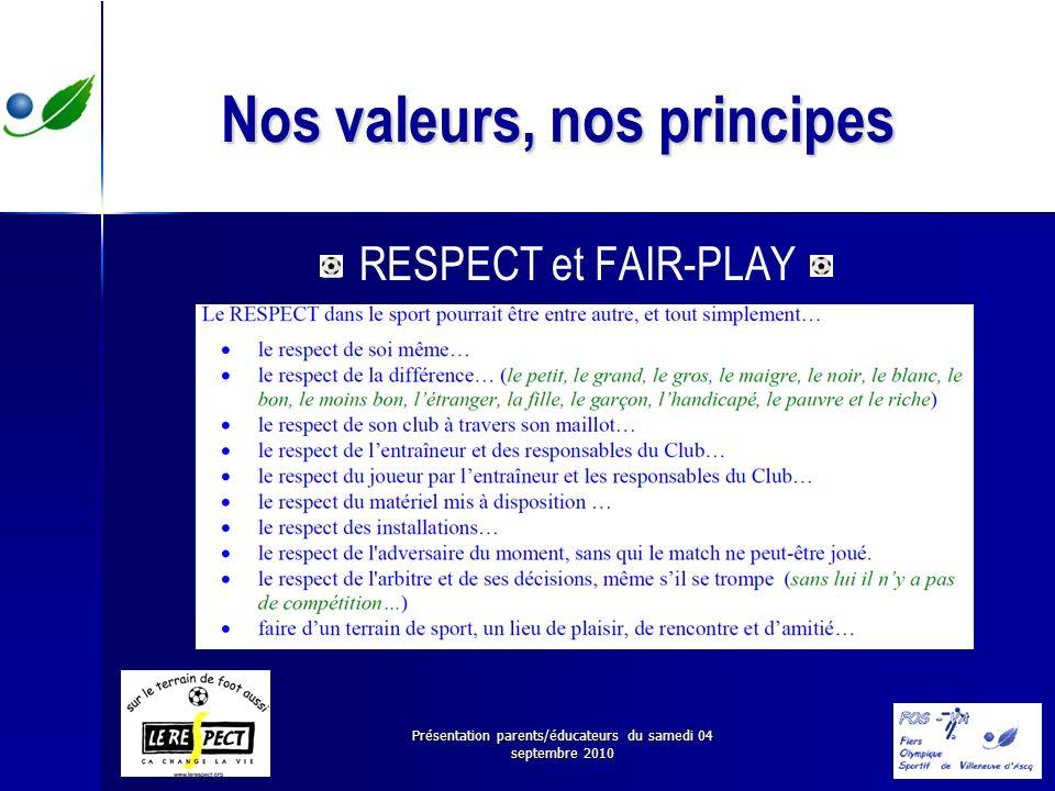 Présentation parents/éducateurs du samedi 04 septembre 2010 Nos valeurs, nos principes RESPECT et FAIR-PLAY