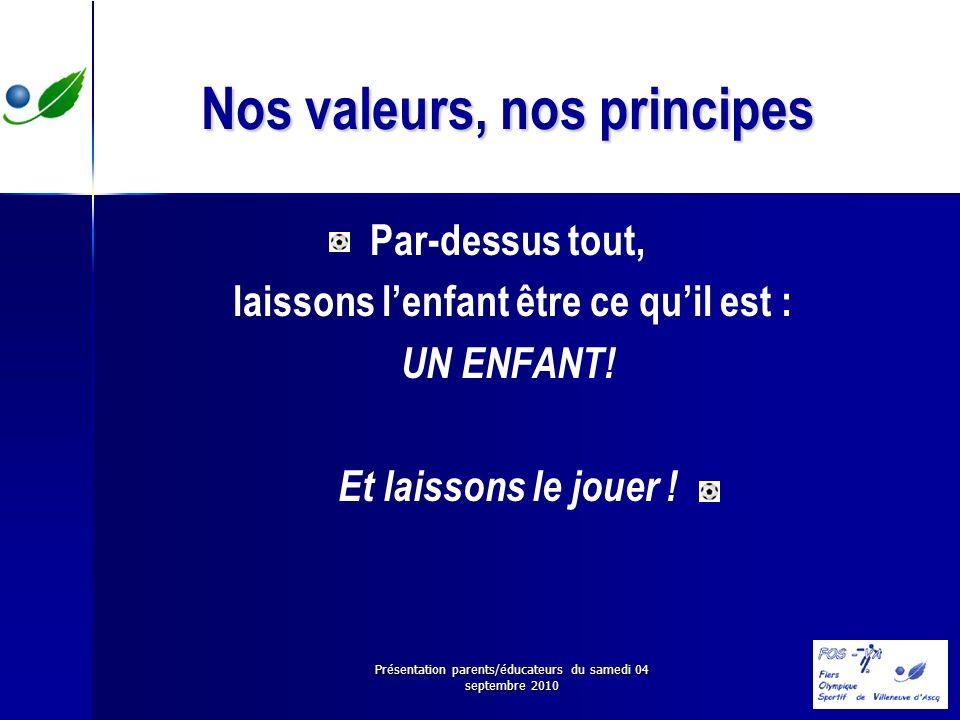 Présentation parents/éducateurs du samedi 04 septembre 2010 Nos valeurs, nos principes Par-dessus tout, laissons lenfant être ce quil est : UN ENFANT!