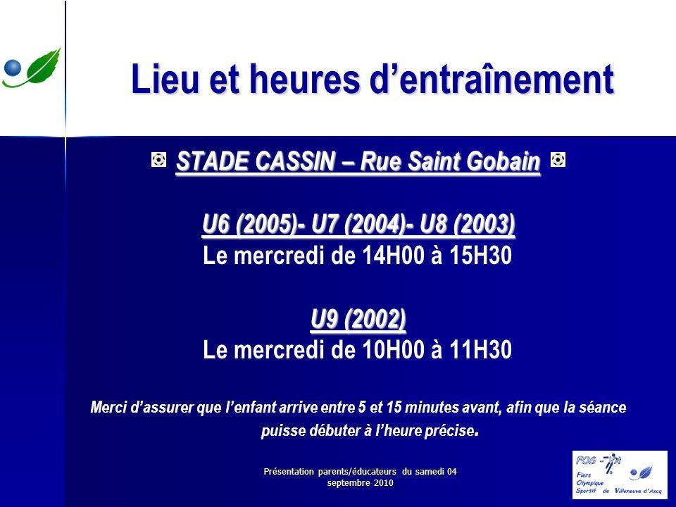 Présentation parents/éducateurs du samedi 04 septembre 2010 Lieu et heures dentraînement STADE CASSIN – Rue Saint Gobain U6 (2005)- U7 (2004)- U8 (200