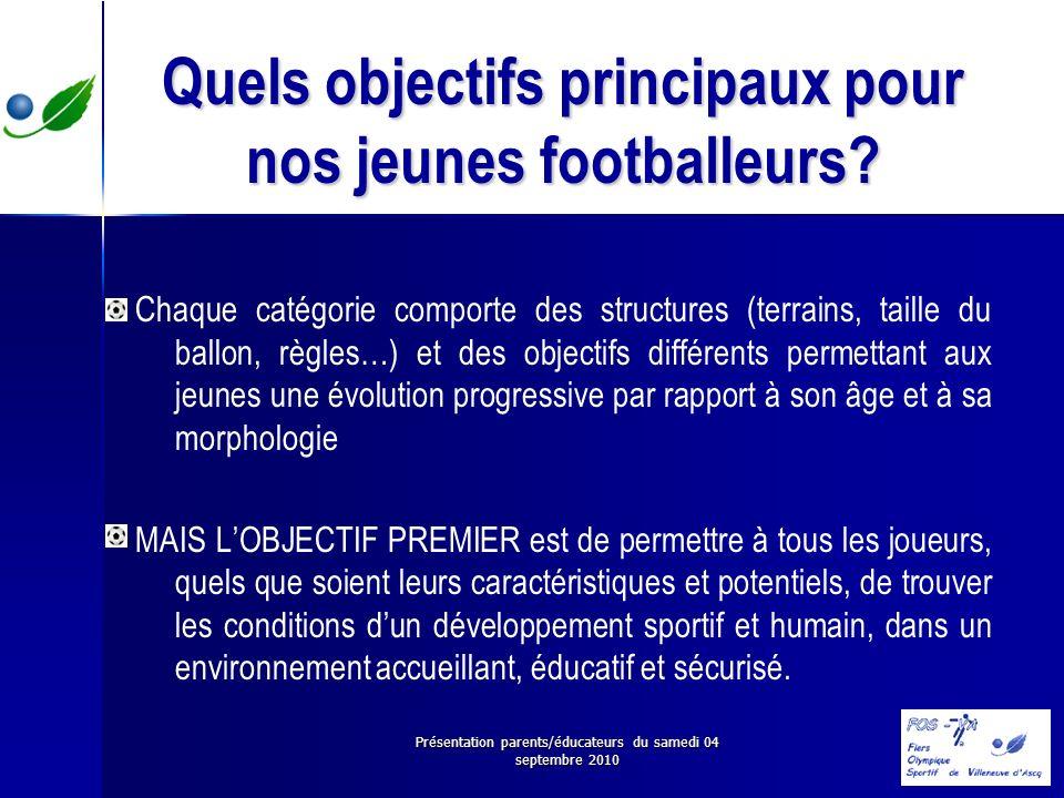 Présentation parents/éducateurs du samedi 04 septembre 2010 Quels objectifs principaux pour nos jeunes footballeurs? Chaque catégorie comporte des str