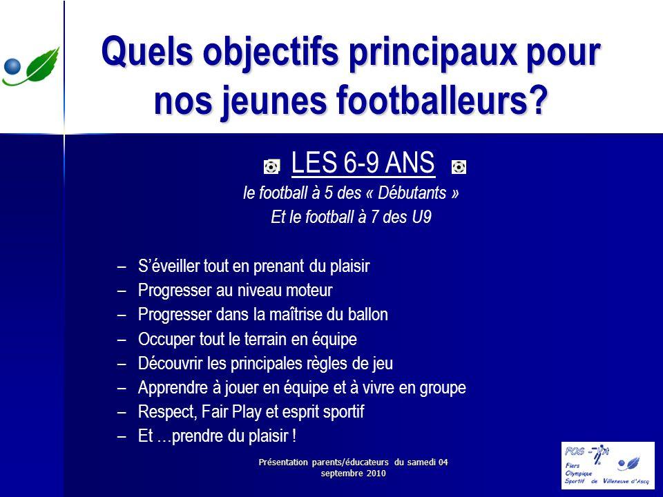 Présentation parents/éducateurs du samedi 04 septembre 2010 Quels objectifs principaux pour nos jeunes footballeurs? LES 6-9 ANS le football à 5 des «