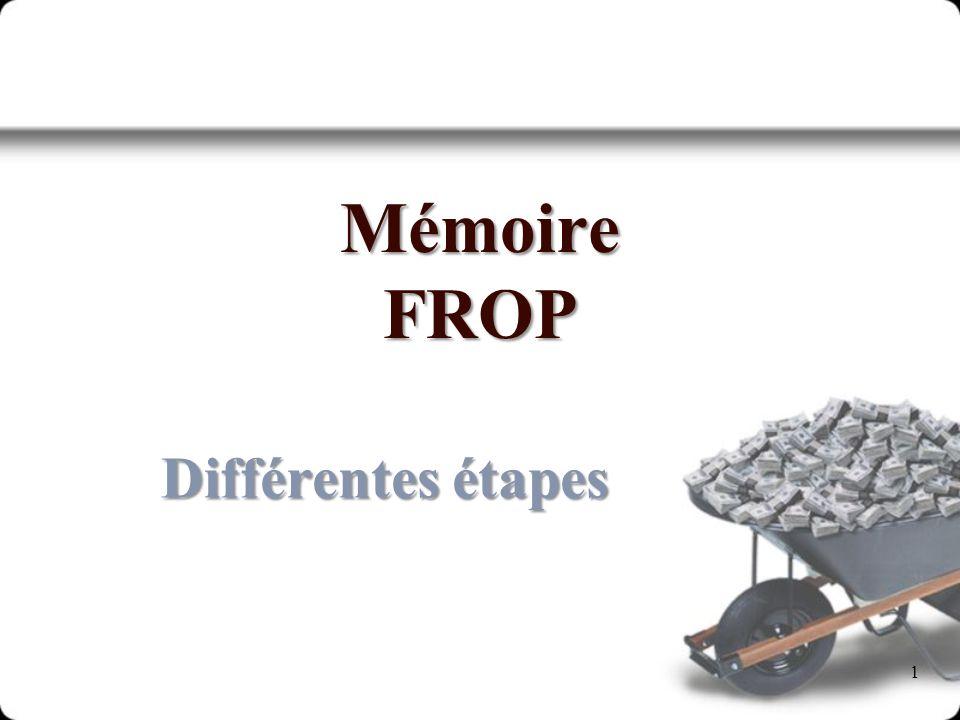 Mémoire FROP Différentes étapes 1