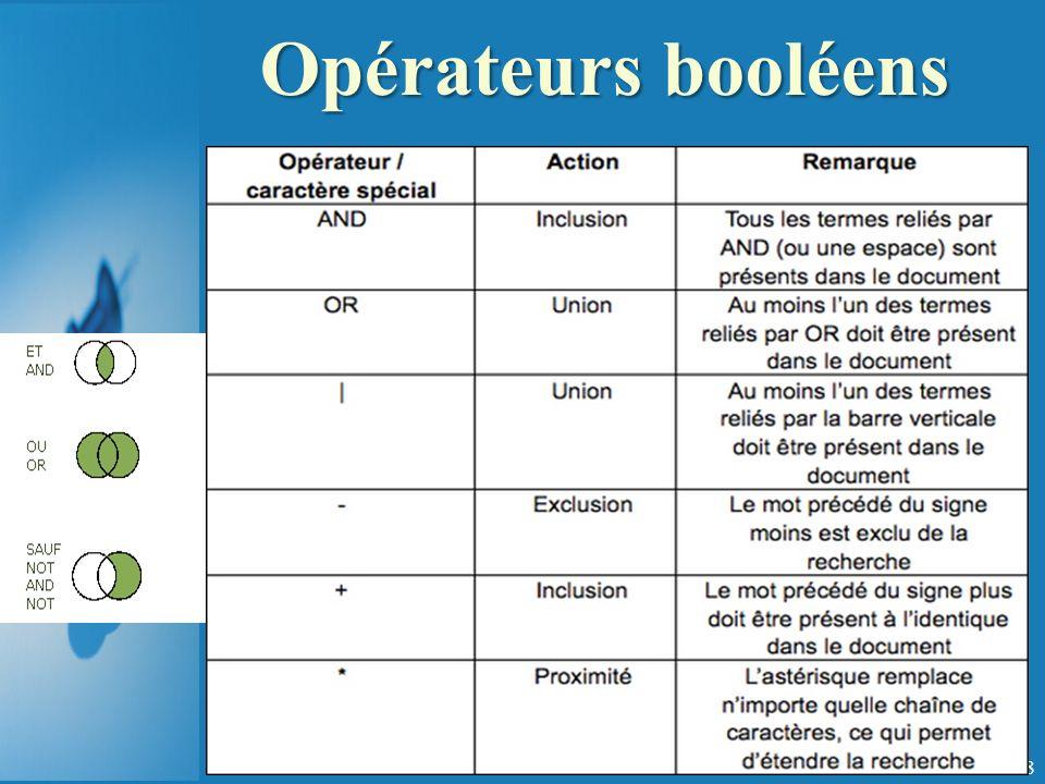 Opérateurs booléens 108