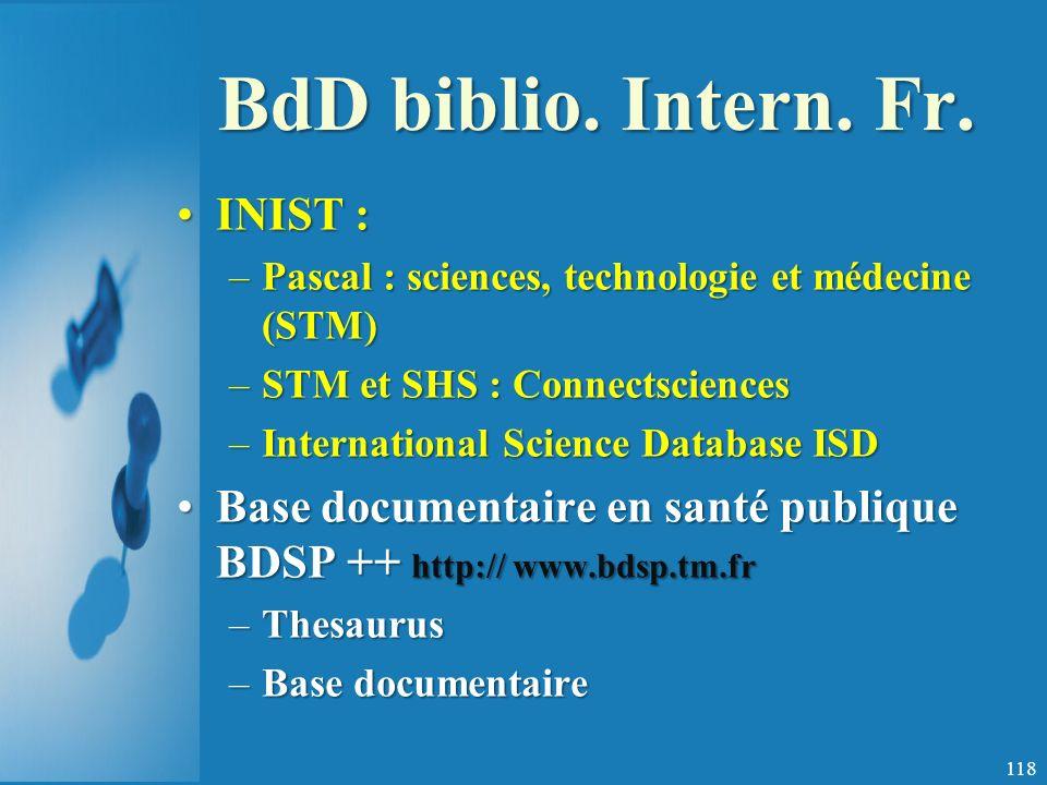 BdD biblio.Intern. Fr.