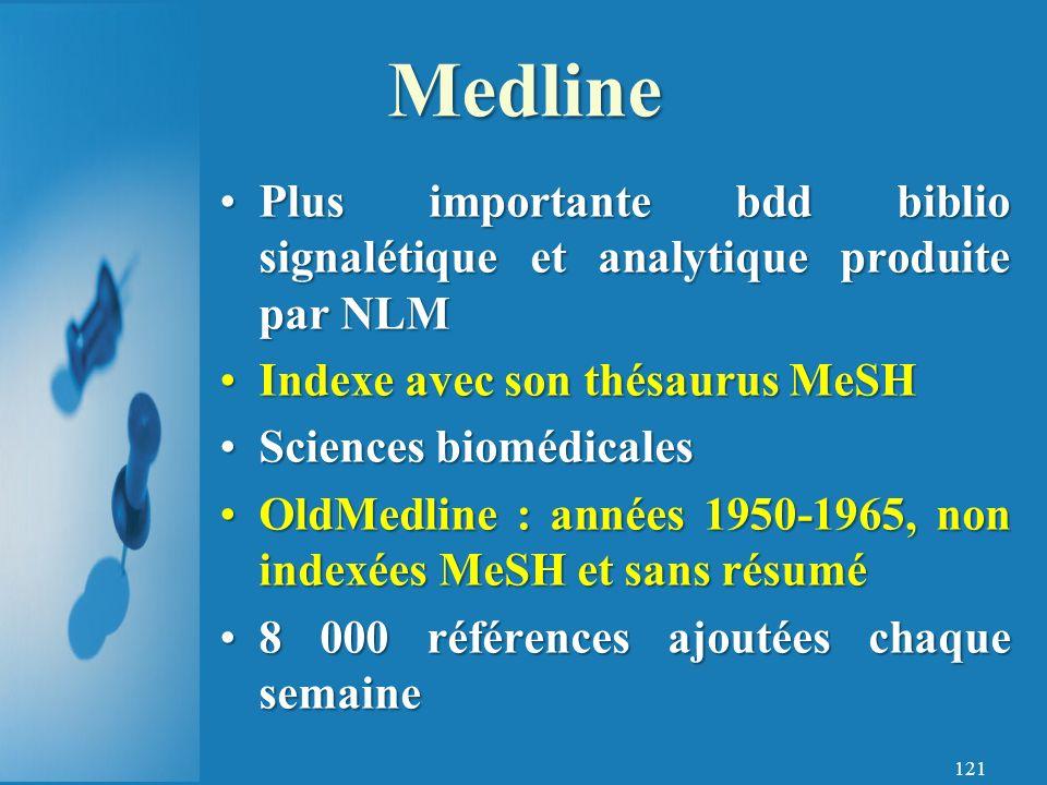 121 Plus importante bdd biblio signalétique et analytique produite par NLMPlus importante bdd biblio signalétique et analytique produite par NLM Indexe avec son thésaurus MeSHIndexe avec son thésaurus MeSH Sciences biomédicalesSciences biomédicales OldMedline : années 1950-1965, non indexées MeSH et sans résuméOldMedline : années 1950-1965, non indexées MeSH et sans résumé 8 000 références ajoutées chaque semaine8 000 références ajoutées chaque semaine Medline