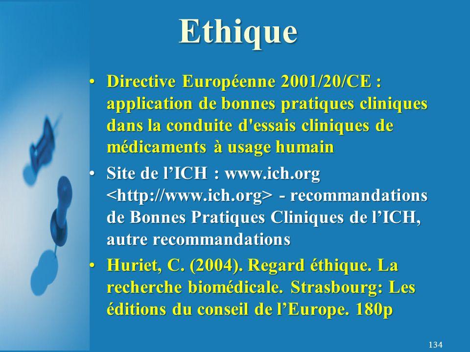 134 Directive Européenne 2001/20/CE : application de bonnes pratiques cliniques dans la conduite d essais cliniques de médicaments à usage humainDirective Européenne 2001/20/CE : application de bonnes pratiques cliniques dans la conduite d essais cliniques de médicaments à usage humain Site de lICH : www.ich.org - recommandations de Bonnes Pratiques Cliniques de lICH, autre recommandationsSite de lICH : www.ich.org - recommandations de Bonnes Pratiques Cliniques de lICH, autre recommandations Huriet, C.