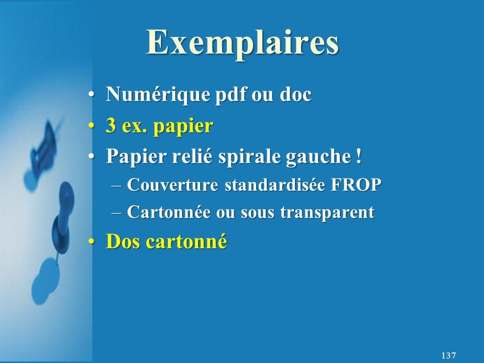 137 Numérique pdf ou docNumérique pdf ou doc 3 ex.