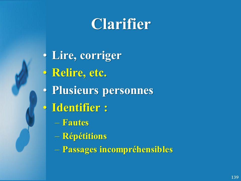 Clarifier Lire, corrigerLire, corriger Relire, etc.Relire, etc.