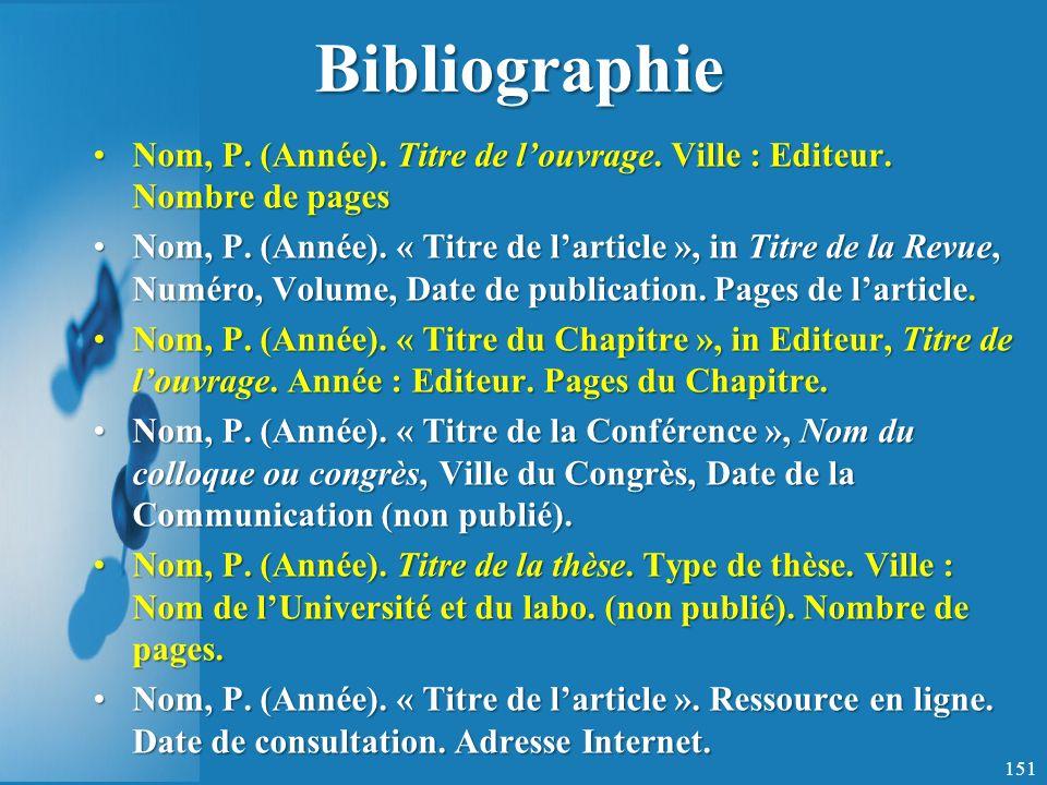 Bibliographie Nom, P.(Année). Titre de louvrage. Ville : Editeur.