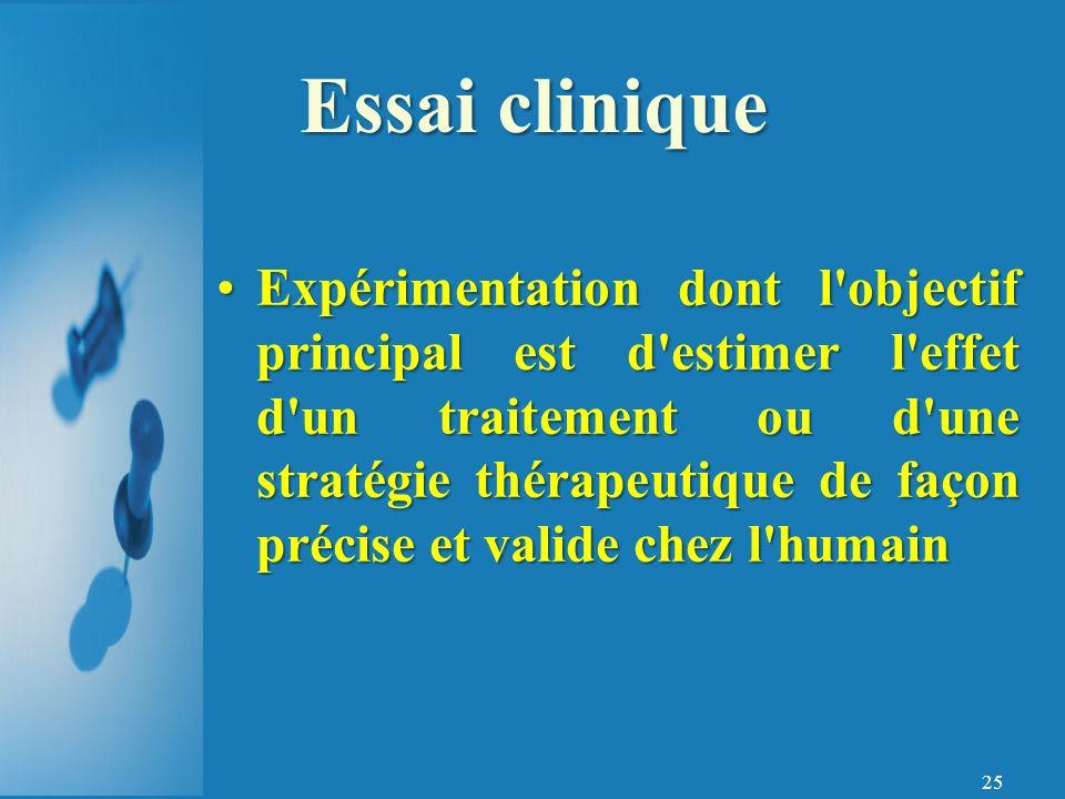 25 Expérimentation dont l objectif principal est d estimer l effet d un traitement ou d une stratégie thérapeutique de façon précise et valide chez l humainExpérimentation dont l objectif principal est d estimer l effet d un traitement ou d une stratégie thérapeutique de façon précise et valide chez l humain Essai clinique