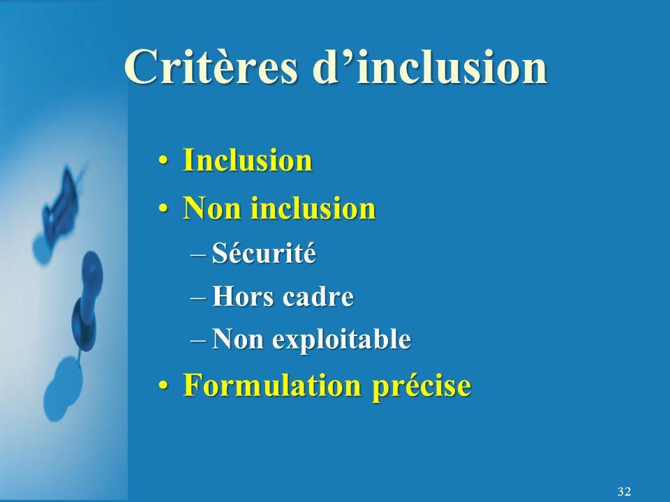 32 InclusionInclusion Non inclusionNon inclusion –Sécurité –Hors cadre –Non exploitable Formulation préciseFormulation précise Critères dinclusion