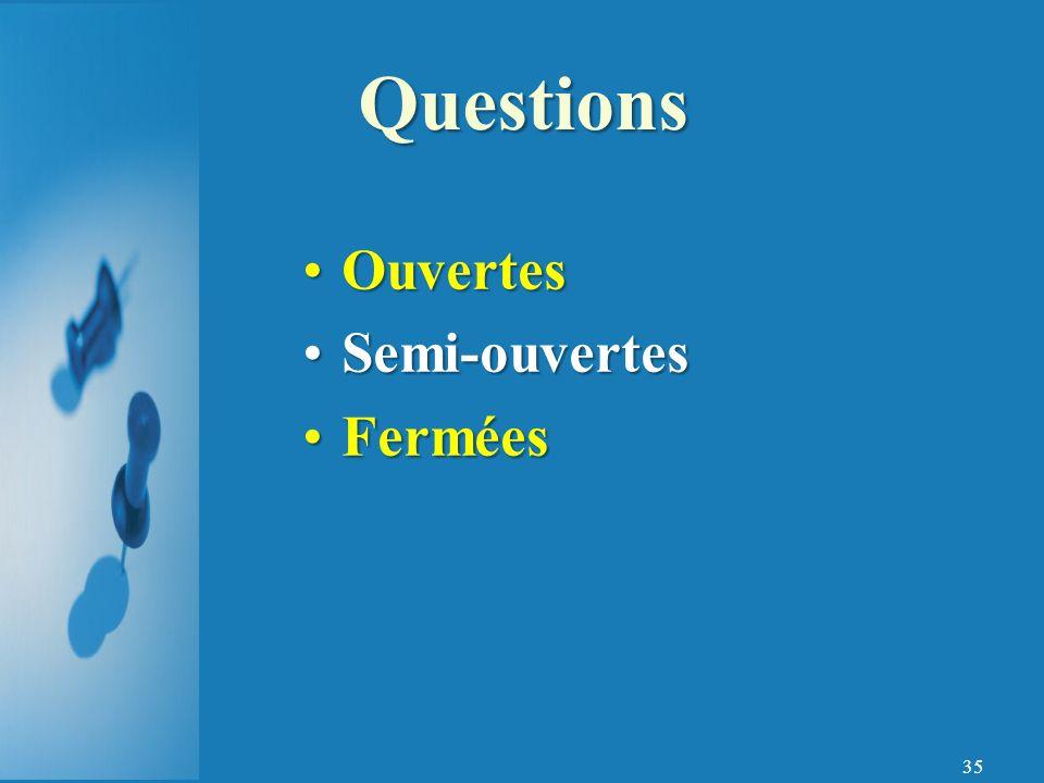 35 OuvertesOuvertes Semi-ouvertesSemi-ouvertes FerméesFermées Questions