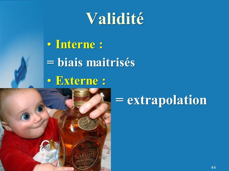 44 Interne : = biais maitrisés Externe : = extrapolation Validité