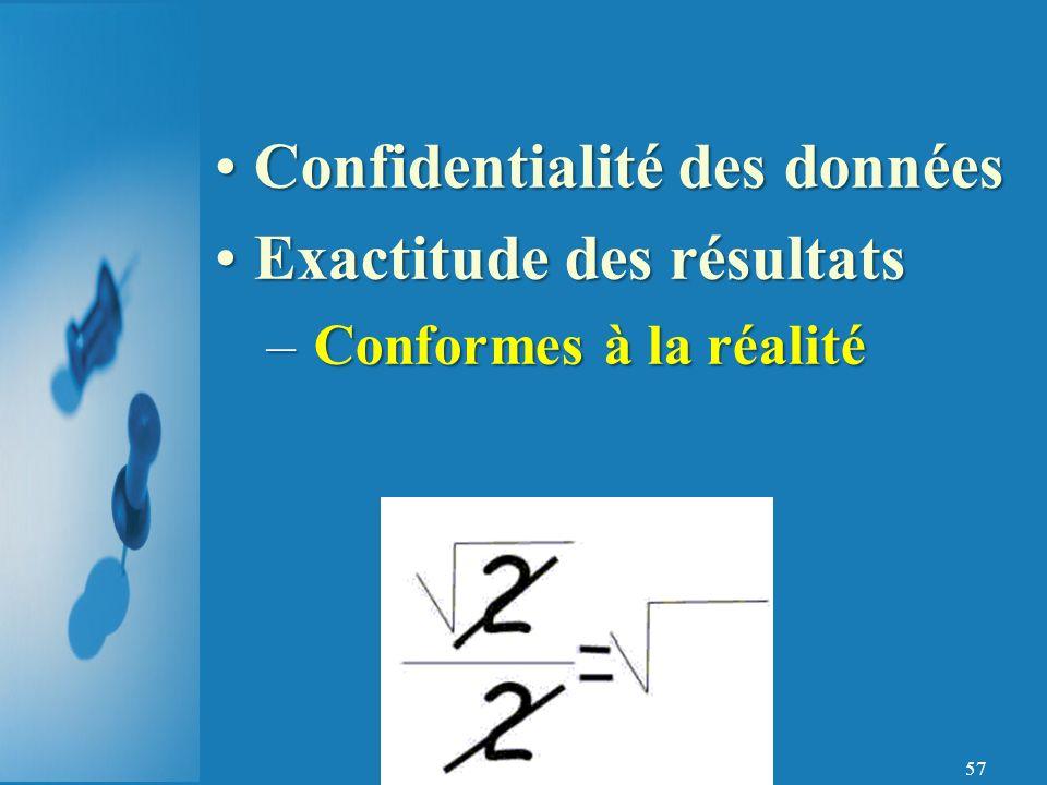 57 Confidentialité des donnéesConfidentialité des données Exactitude des résultatsExactitude des résultats – Conformes à la réalité