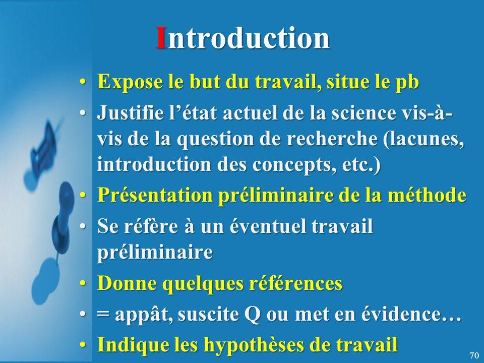 Introduction Expose le but du travail, situe le pbExpose le but du travail, situe le pb Justifie létat actuel de la science vis-à- vis de la question de recherche (lacunes, introduction des concepts, etc.)Justifie létat actuel de la science vis-à- vis de la question de recherche (lacunes, introduction des concepts, etc.) Présentation préliminaire de la méthodePrésentation préliminaire de la méthode Se réfère à un éventuel travail préliminaireSe réfère à un éventuel travail préliminaire Donne quelques référencesDonne quelques références = appât, suscite Q ou met en évidence…= appât, suscite Q ou met en évidence… Indique les hypothèses de travailIndique les hypothèses de travail 70