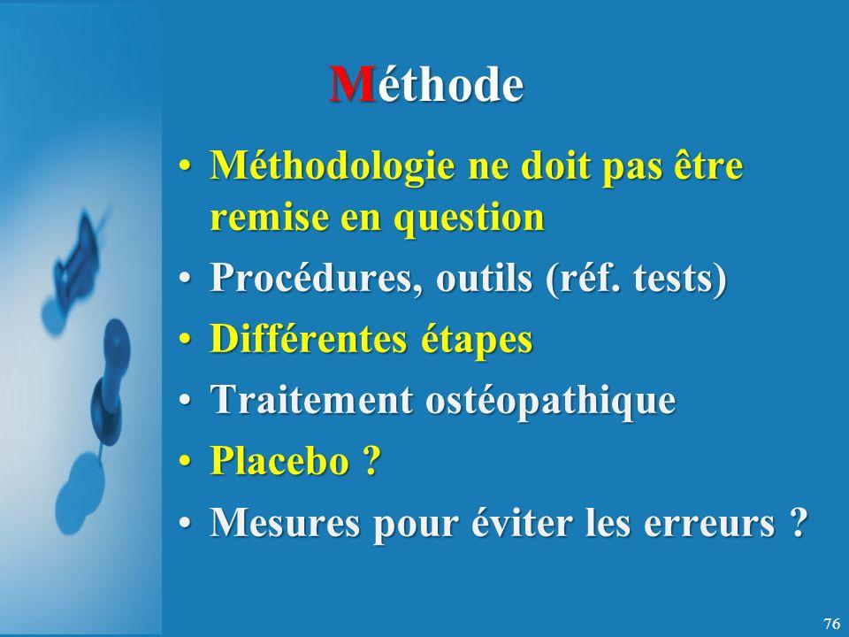Méthode Méthodologie ne doit pas être remise en questionMéthodologie ne doit pas être remise en question Procédures, outils (réf.