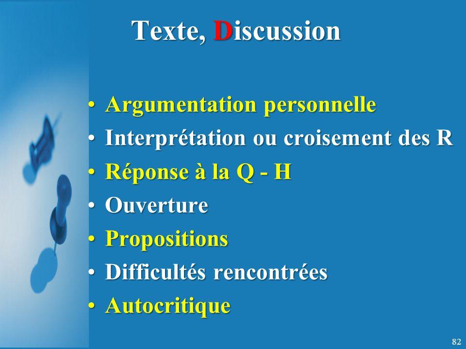 Texte, Discussion Argumentation personnelleArgumentation personnelle Interprétation ou croisement des RInterprétation ou croisement des R Réponse à la Q - HRéponse à la Q - H OuvertureOuverture PropositionsPropositions Difficultés rencontréesDifficultés rencontrées AutocritiqueAutocritique 82