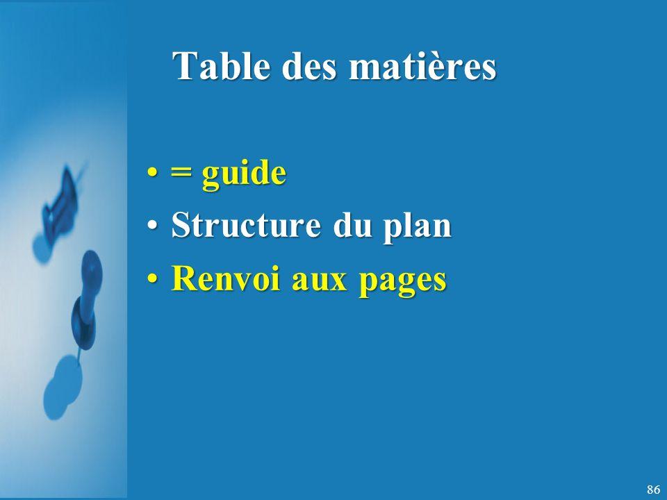 Table des matières = guide= guide Structure du planStructure du plan Renvoi aux pagesRenvoi aux pages 86