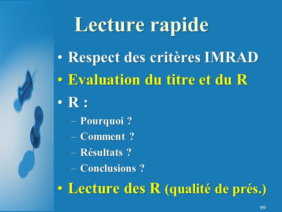99 Respect des critères IMRADRespect des critères IMRAD Evaluation du titre et du REvaluation du titre et du R R :R : –Pourquoi .