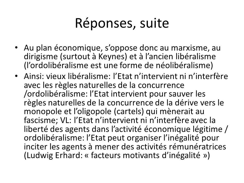 Réponses, suite Au plan économique, soppose donc au marxisme, au dirigisme (surtout à Keynes) et à lancien libéralisme (lordolibéralisme est une forme