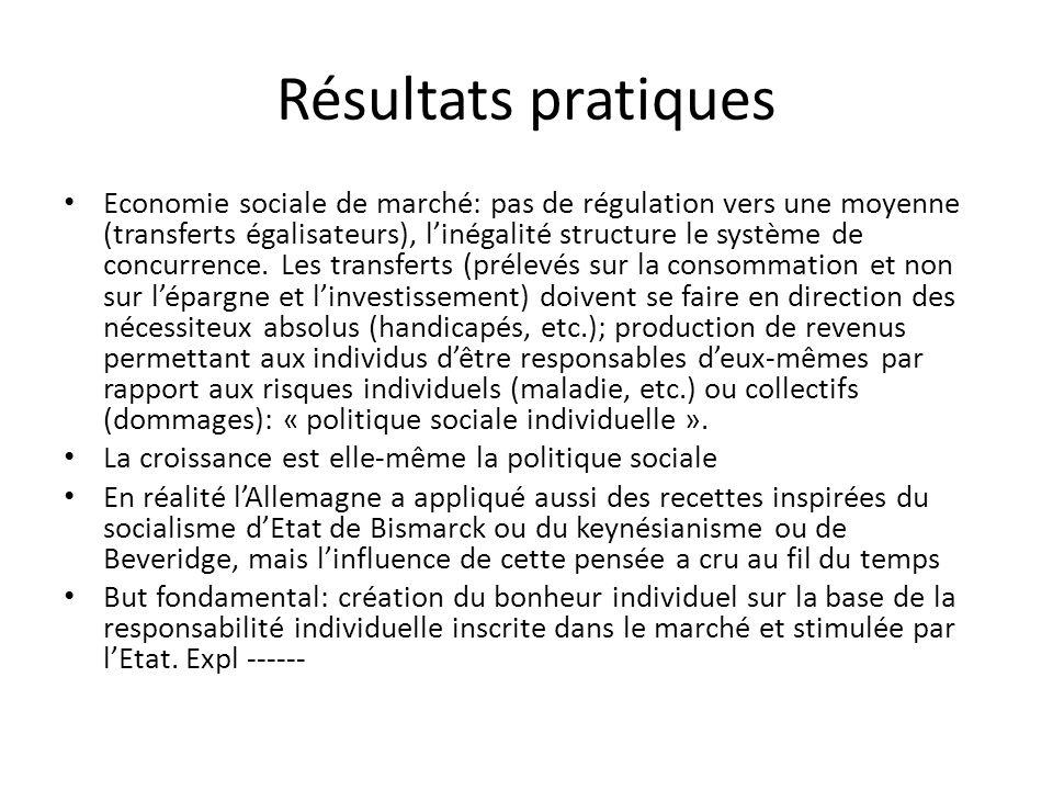 Résultats pratiques Economie sociale de marché: pas de régulation vers une moyenne (transferts égalisateurs), linégalité structure le système de concurrence.