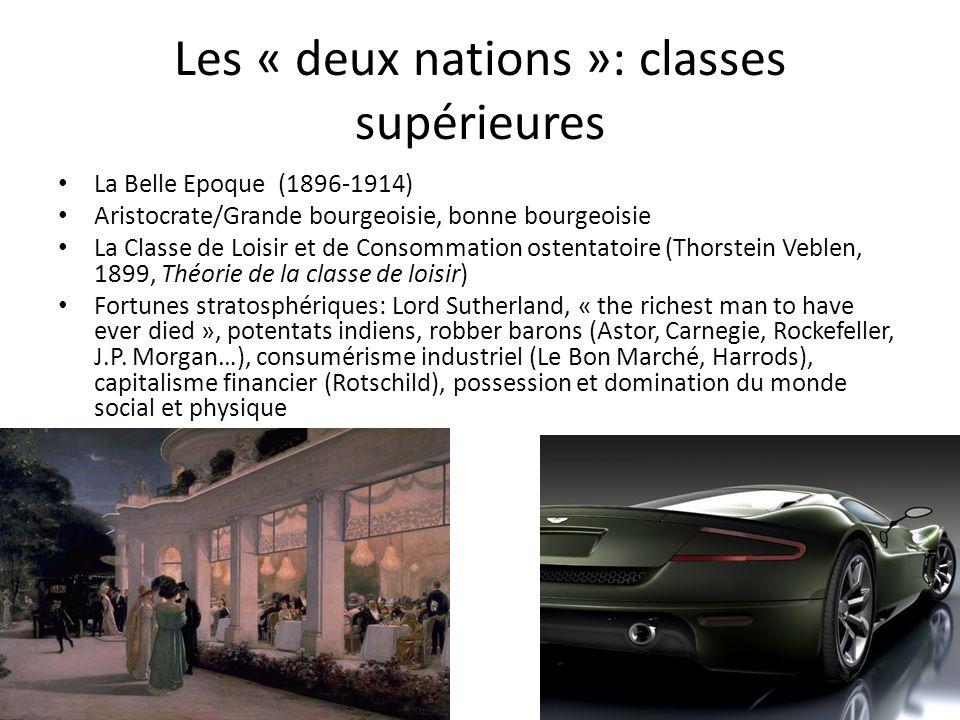 Les « deux nations »: classes supérieures La Belle Epoque (1896-1914) Aristocrate/Grande bourgeoisie, bonne bourgeoisie La Classe de Loisir et de Cons