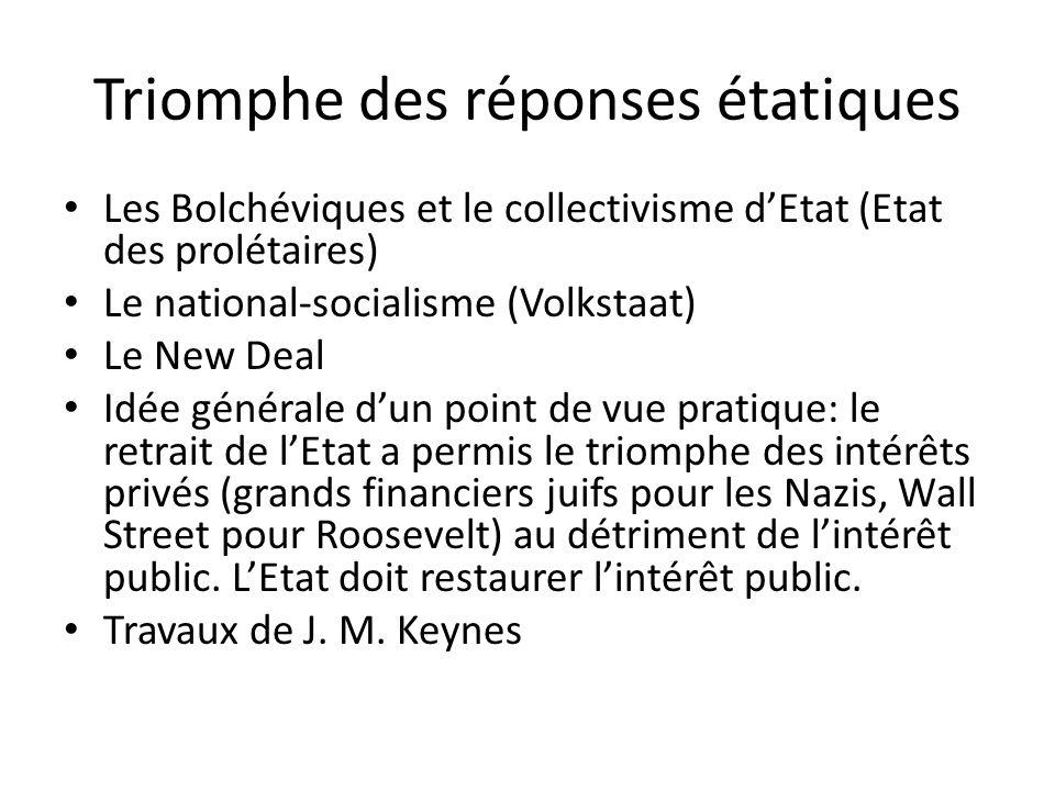 Triomphe des réponses étatiques Les Bolchéviques et le collectivisme dEtat (Etat des prolétaires) Le national-socialisme (Volkstaat) Le New Deal Idée