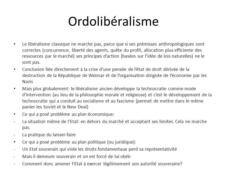 Ordolibéralisme Le libéralisme classique ne marche pas, parce que si ses prémisses anthropologiques sont correctes (concurrence, liberté des agents, q