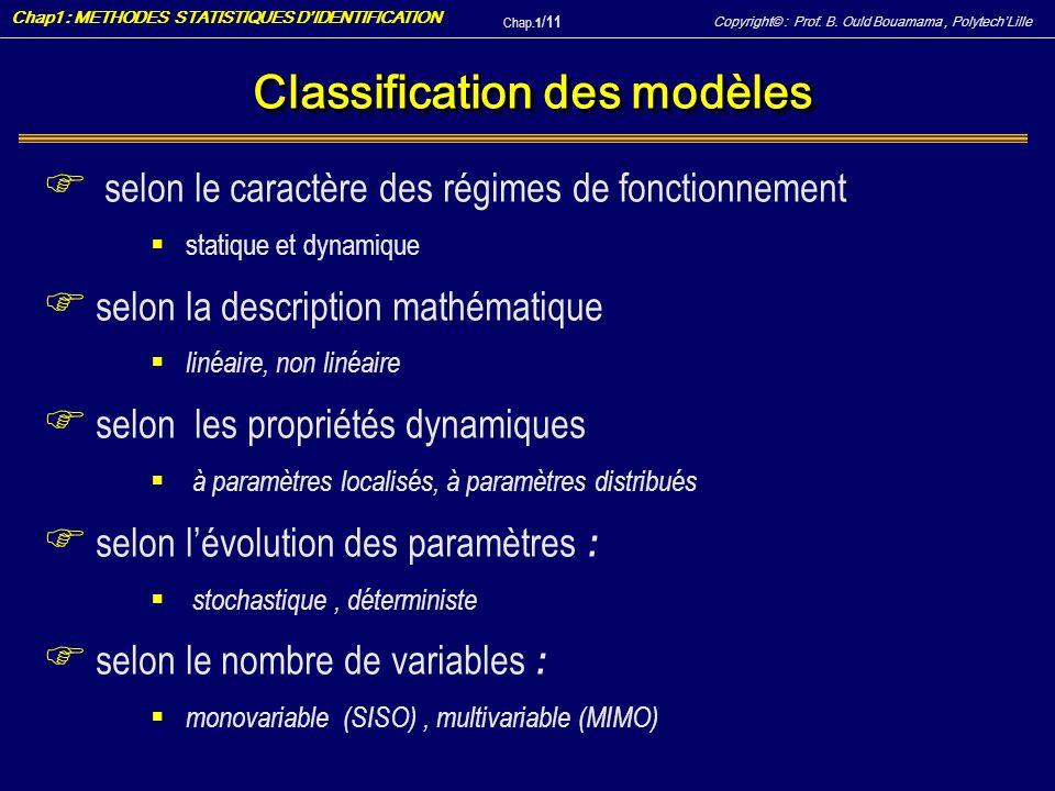 Copyright© : Prof. B. Ould Bouamama, PolytechLille Chap1 : METHODES STATISTIQUES DIDENTIFICATION Chap.1 / 11 Classification des modèles F selon le car