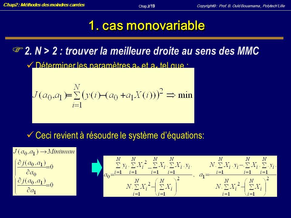 Copyright© : Prof. B. Ould Bouamama, PolytechLille Chap2 : Méthodes des moindres carrées Chap.2 / 19 1. cas monovariable F 2. N > 2 : trouver la meill