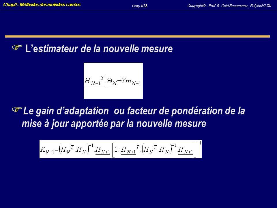 Copyright© : Prof. B. Ould Bouamama, PolytechLille Chap2 : Méthodes des moindres carrées Chap.2 / 28 F Le stimateur de la nouvelle mesure F Le gain da
