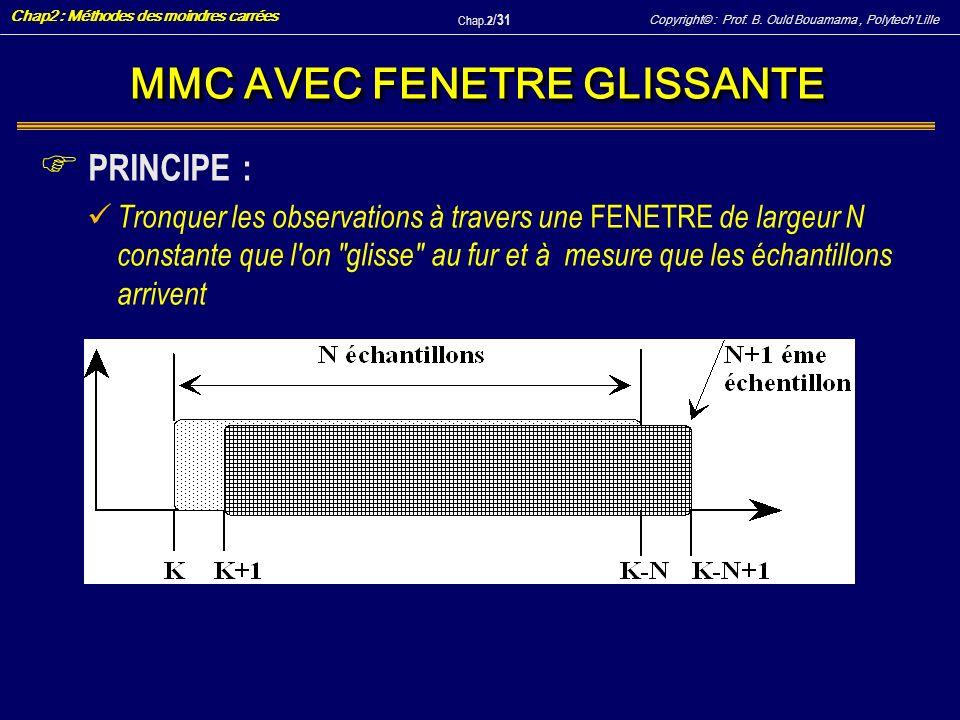 Copyright© : Prof. B. Ould Bouamama, PolytechLille Chap2 : Méthodes des moindres carrées Chap.2 / 31 MMC AVEC FENETRE GLISSANTE F PRINCIPE : Tronquer