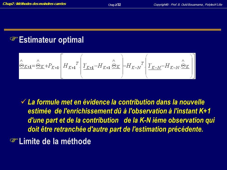 Copyright© : Prof. B. Ould Bouamama, PolytechLille Chap2 : Méthodes des moindres carrées Chap.2 / 32 F Estimateur optimal La formule met en évidence l
