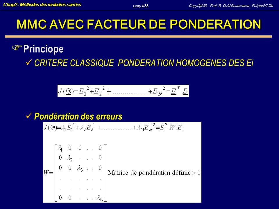 Copyright© : Prof. B. Ould Bouamama, PolytechLille Chap2 : Méthodes des moindres carrées Chap.2 / 33 MMC AVEC FACTEUR DE PONDERATION F Princiope CRITE