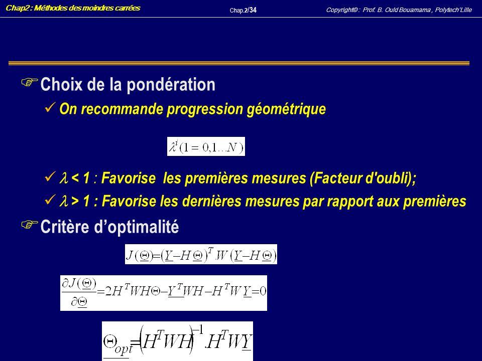 Copyright© : Prof. B. Ould Bouamama, PolytechLille Chap2 : Méthodes des moindres carrées Chap.2 / 34 F Choix de la pondération On recommande progressi