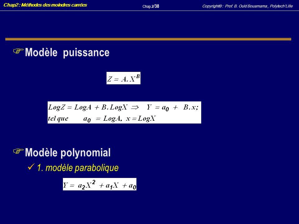 Copyright© : Prof. B. Ould Bouamama, PolytechLille Chap2 : Méthodes des moindres carrées Chap.2 / 38 F Modèle puissance F Modèle polynomial 1. modèle