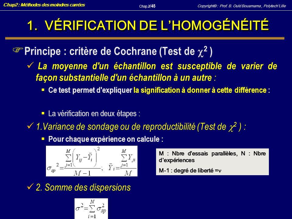 Copyright© : Prof. B. Ould Bouamama, PolytechLille Chap2 : Méthodes des moindres carrées Chap.2 / 45 1. VÉRIFICATION DE LHOMOGÉNÉITÉ F Principe : crit