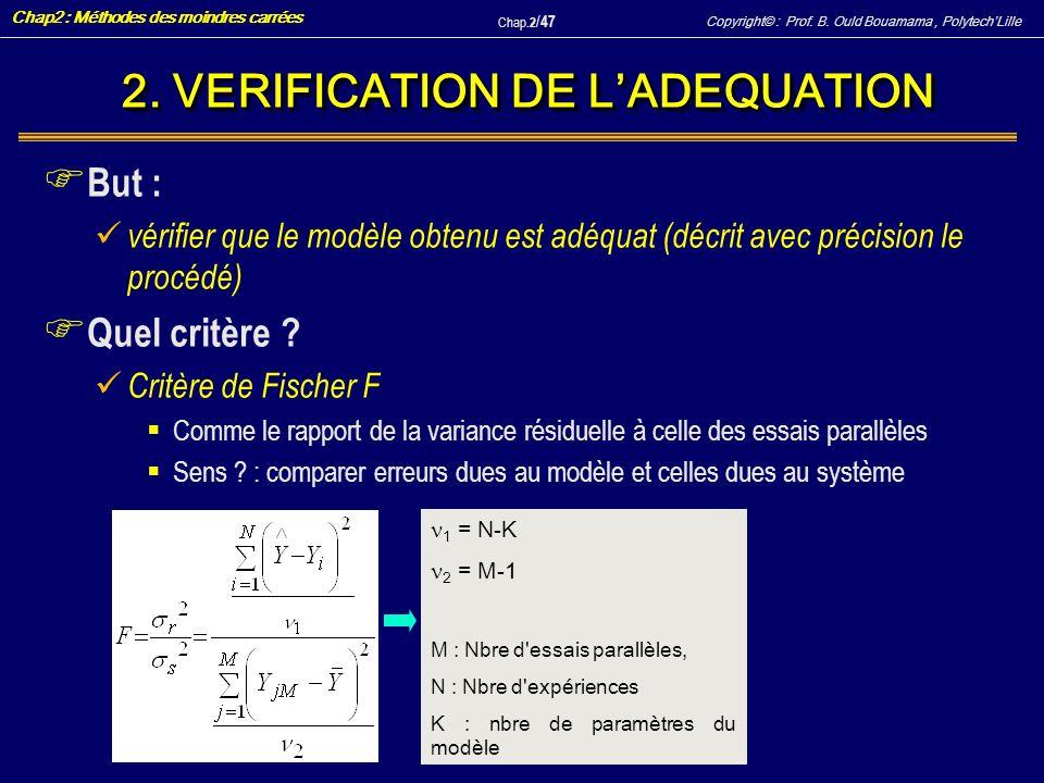 Copyright© : Prof. B. Ould Bouamama, PolytechLille Chap2 : Méthodes des moindres carrées Chap.2 / 47 2. VERIFICATION DE LADEQUATION F But : vérifier q