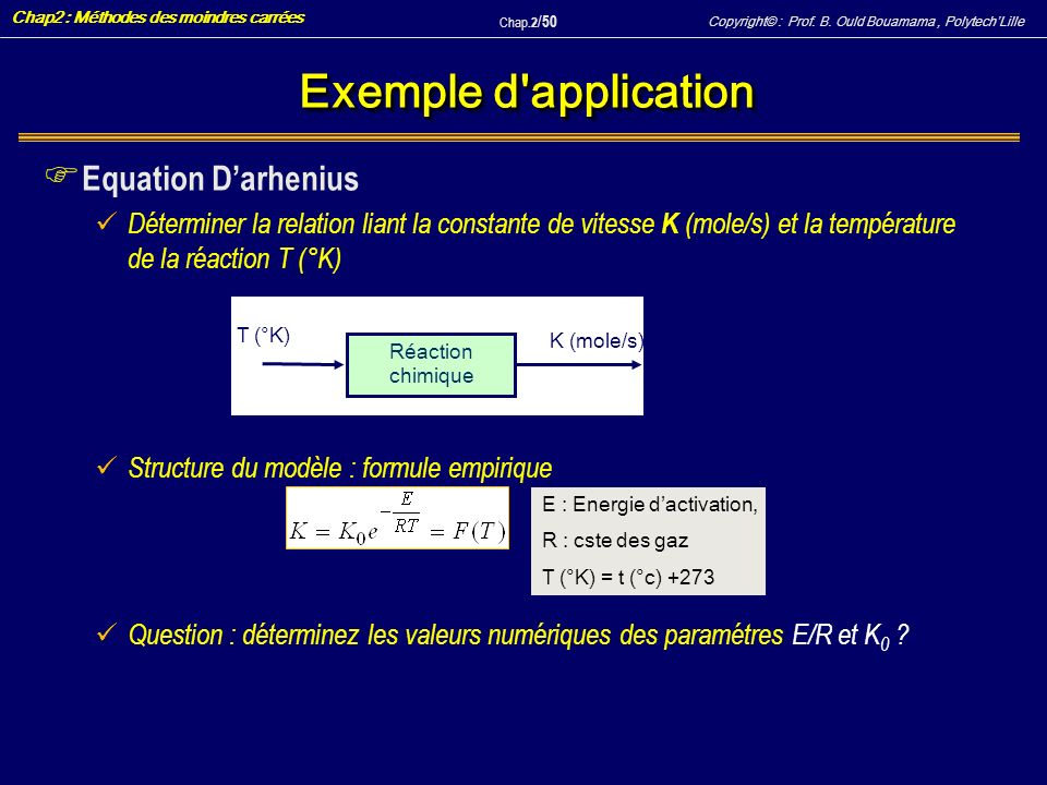 Copyright© : Prof. B. Ould Bouamama, PolytechLille Chap2 : Méthodes des moindres carrées Chap.2 / 50 Exemple d'application F Equation Darhenius Déterm