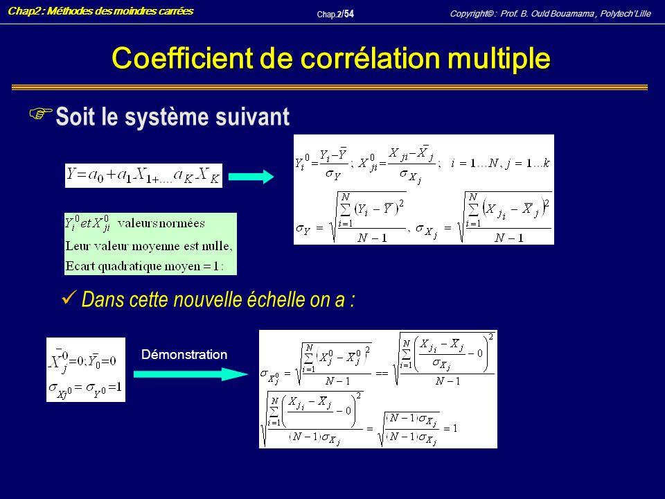 Copyright© : Prof. B. Ould Bouamama, PolytechLille Chap2 : Méthodes des moindres carrées Chap.2 / 54 Coefficient de corrélation multiple F Soit le sys