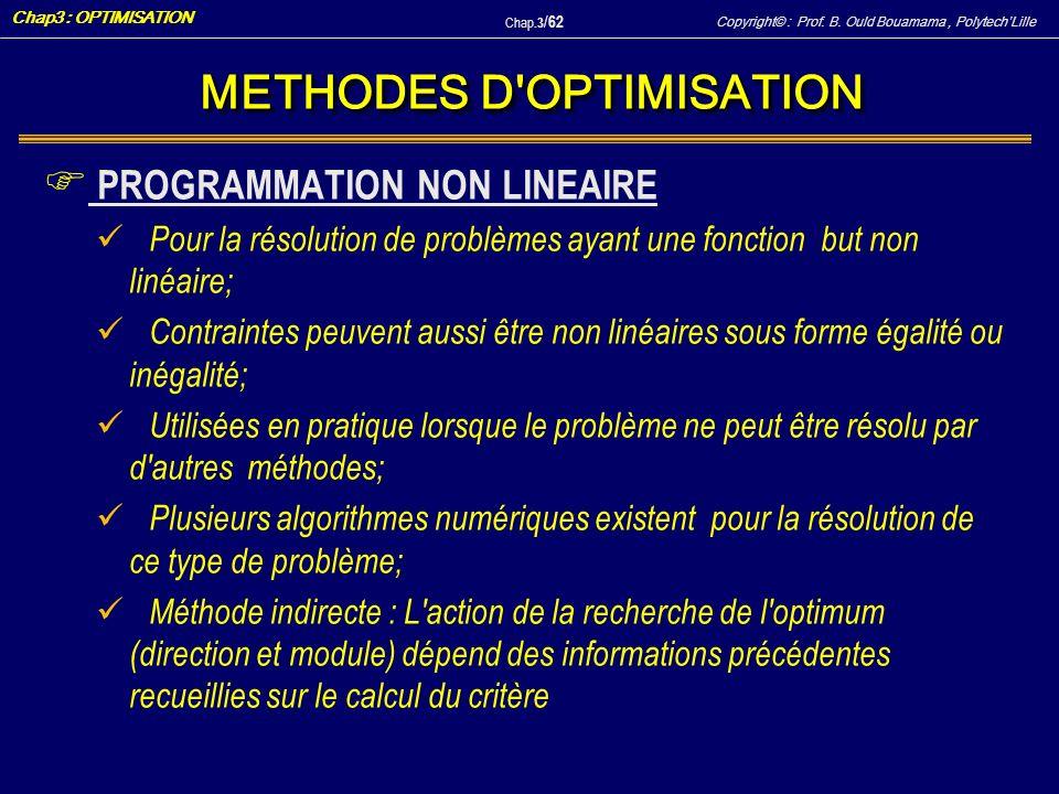 Copyright© : Prof. B. Ould Bouamama, PolytechLille Chap3 : OPTIMISATION Chap.3 / 62 METHODES D'OPTIMISATION F PROGRAMMATION NON LINEAIRE Pour la résol