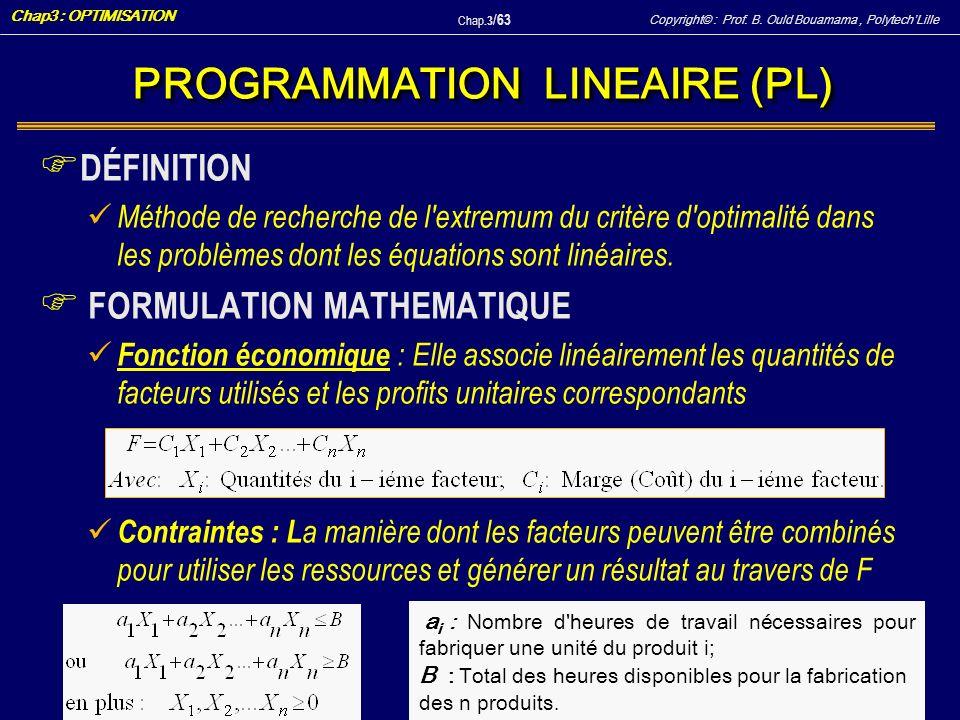 Copyright© : Prof. B. Ould Bouamama, PolytechLille Chap3 : OPTIMISATION Chap.3 / 63 F DÉFINITION Méthode de recherche de l'extremum du critère d'optim