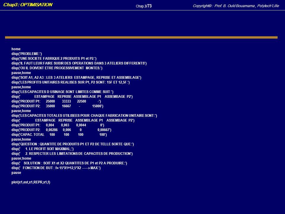 Copyright© : Prof. B. Ould Bouamama, PolytechLille Chap3 : OPTIMISATION Chap.3 / 73 home disp('PROBLEME:') disp('UNE SOCIETE FABRIQUE 2 PRODUITS P1 et