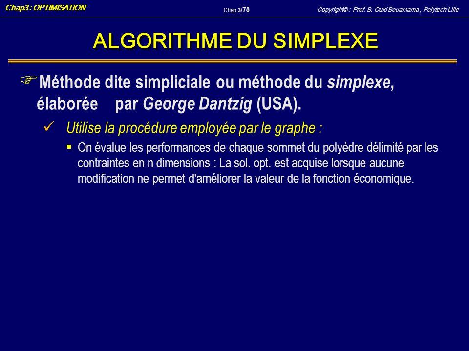 Copyright© : Prof. B. Ould Bouamama, PolytechLille Chap3 : OPTIMISATION Chap.3 / 75 ALGORITHME DU SIMPLEXE F Méthode dite simpliciale ou méthode du si