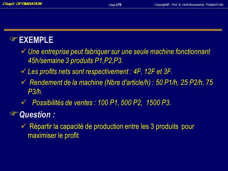Copyright© : Prof. B. Ould Bouamama, PolytechLille Chap3 : OPTIMISATION Chap.3 / 76 F EXEMPLE Une entreprise peut fabriquer sur une seule machine fonc