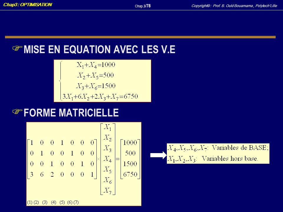 Copyright© : Prof. B. Ould Bouamama, PolytechLille Chap3 : OPTIMISATION Chap.3 / 78 F MISE EN EQUATION AVEC LES V.E F FORME MATRICIELLE