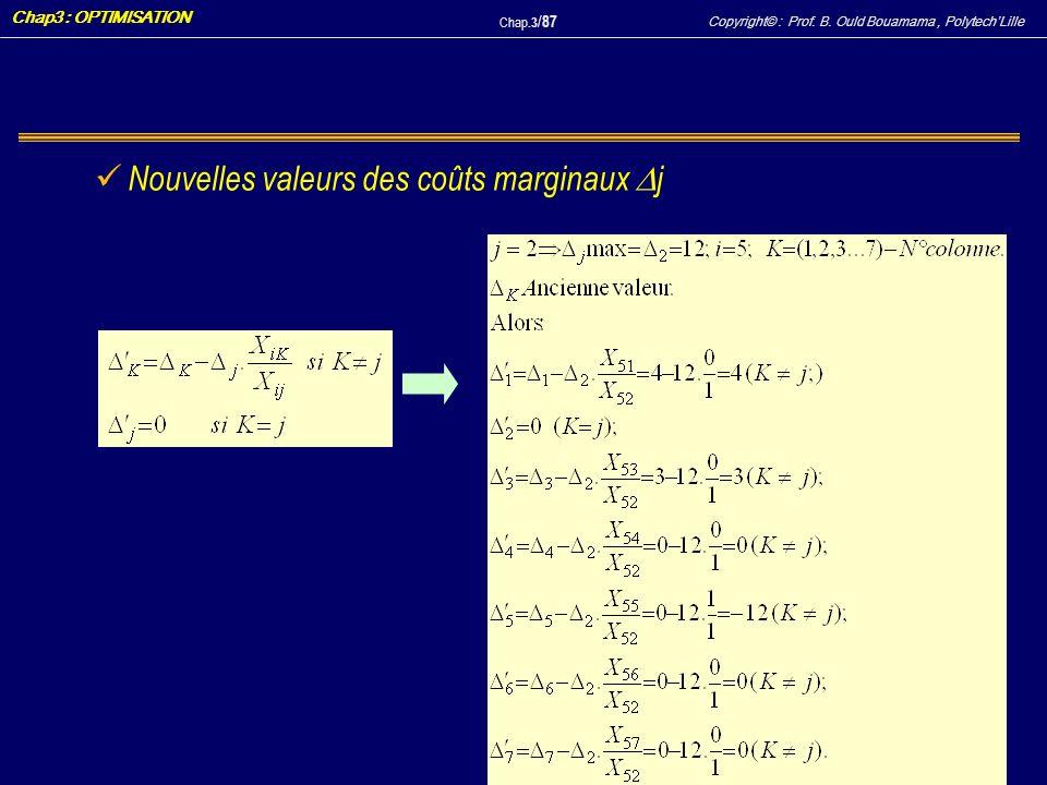 Copyright© : Prof. B. Ould Bouamama, PolytechLille Chap3 : OPTIMISATION Chap.3 / 87 Nouvelles valeurs des coûts marginaux j